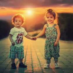greeting e-card Two children holding hands Friendly
