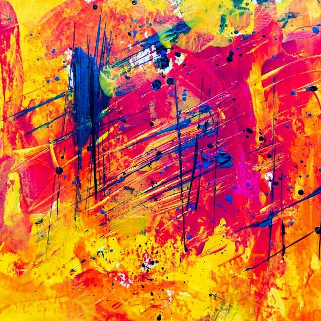 Dzelten sarkana abstraktā māksla e-kartiņa