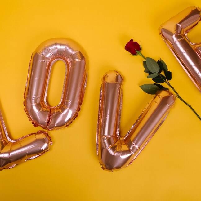 Love uzraksts no baloniem un sarkana roze e-kartiņa