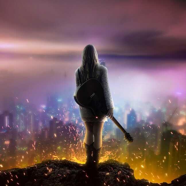 Meitene ar ģitāru nakts pilsētā e-kartiņa