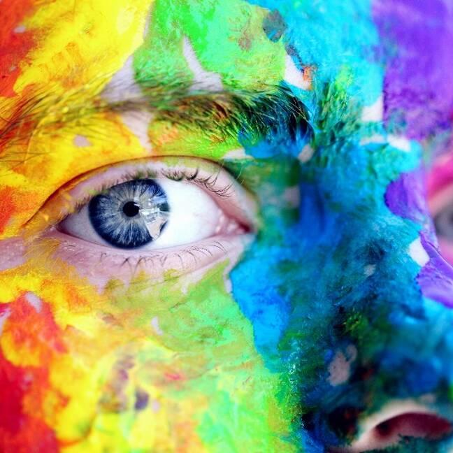 Persona ar krāsainu sejas krāsu e-kartiņa