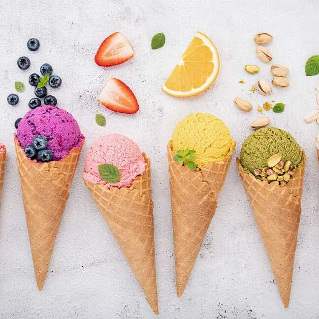 Saldējumi ar dažādiem pildijumiem e-kartiņa